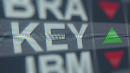 Stock exchange ticker of KEYCORP KEY. Editorial 3D rendering Editorial