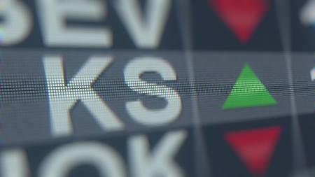 Stock exchange ticker of KAPSTONE PAPER&PACKAGING KS. Editorial 3D rendering