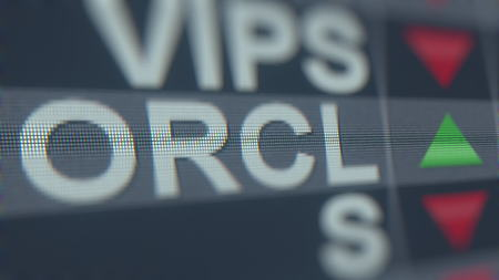 ORACLE ORCL stock ticker, conceptual editorial 3D rendering