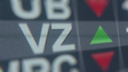 VERIZON COMMUNICATIONS VZ stock ticker, conceptual editorial 3D rendering