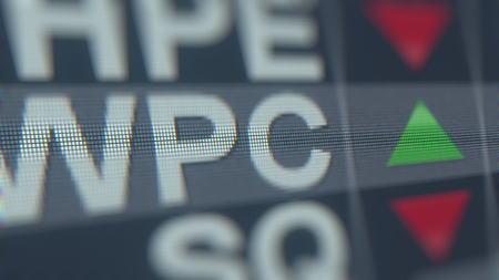 Stock exchange ticker of W. P. CAREY WPC. Editorial 3D rendering