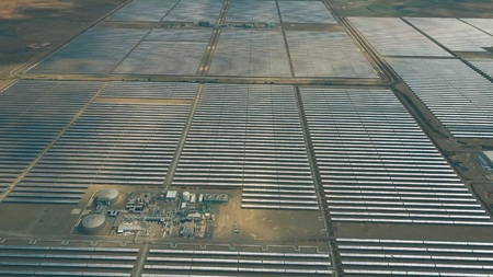 Flight over big solar power plant