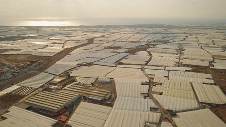 Greenhouse farms in Almeria, Spain. Aerial view