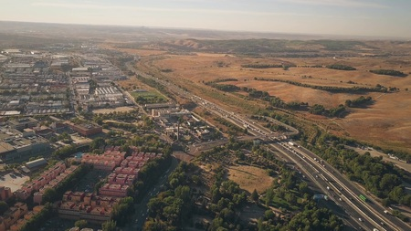 Aerial view of Rivas-Vaciamadrid city and A3 motorway from Madrid to Valencia, Spain Stock Photo