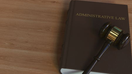 ADMINISTRATIVE LAW book and court gavel. 3D rendering