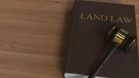 LAND LAW book and court gavel. 3D rendering