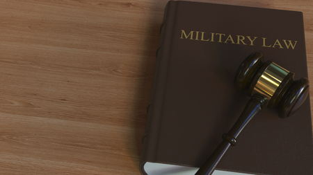 MILITARY LAW book and court gavel. 3D rendering Imagens