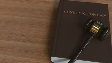 CONSTRUCTION LAW book and court gavel. 3D rendering