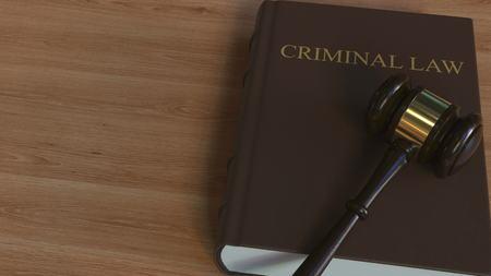 CRIMINAL LAW book and judges gavel. Conceptual 3D rendering