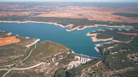 The dam of hydroelectric power plant in Spain, aerial view