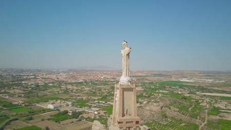 MURCIA, SPAIN - SEPTEMBER 24, 2018. Statue of Christ, aerial view Redactioneel