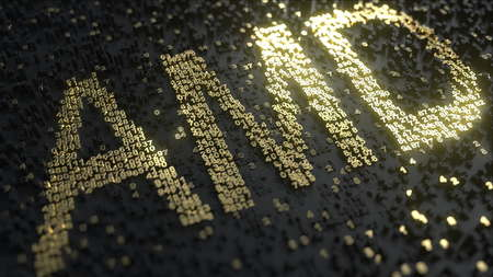 Advanced Micro Devices AMD stock ticker made of gold numbers, conceptual editorial 3D rendering Editöryel