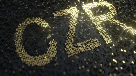 Caesars Entertainment CZR stock ticker made of gold numbers, conceptual editorial 3D rendering