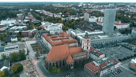 Aerial shot of St. Marienkirche church in Frankfurt on the Oder. Germany