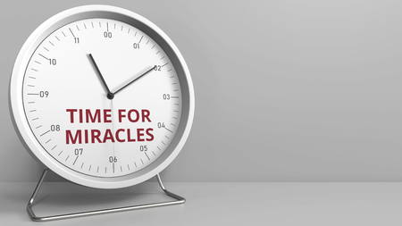 Clock with revealing TIME FOR MIRACLES caption. Conceptual 3D rendering Stock fotó