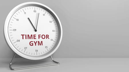 TIME FOR GYM caption on the clock face. Conceptual 3D rendering