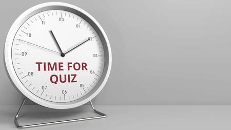 Revealing TIME FOR QUIZ text on the clock face. Conceptual 3D rendering