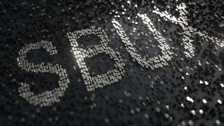 Starbucks SBUX stock ticker made of silver numbers, editorial 3D rendering