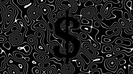 USD American Dollar symbol made of abstract liquid blobs illustration 版權商用圖片