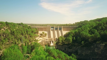 Aerial view of the hydroelectric power plant
