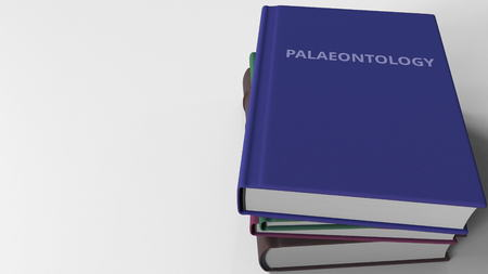 PALAEONTOLOGY title on the book, conceptual 3D rendering