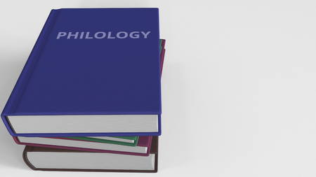 Book cover with PHILOLOGY title. 3D rendering