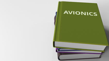 Book cover with AVIONICS title. 3D rendering