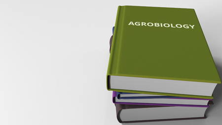Pile of books on AGROBIOLOGY. 3D rendering