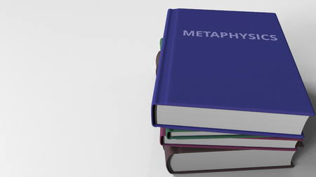 METAPHYSICS title on the book, conceptual 3D rendering Stock Photo