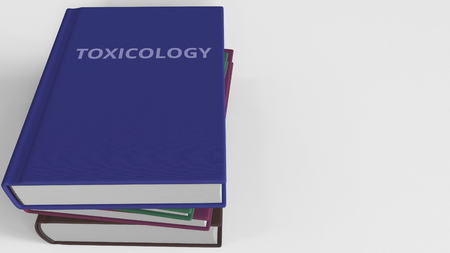 TOXICOLOGY title on the book, conceptual 3D rendering Stock Photo