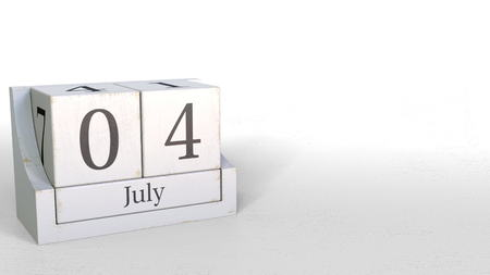 July 4 date on retro blocks calendar, 3D rendering