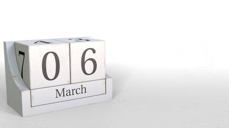 Wooden blocks calendar shows March 6 date, 3D rendering