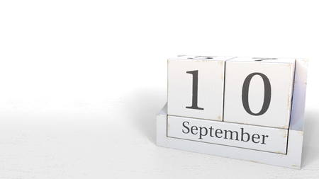 September 10 date on wood bricks calendar. 3D rendering 写真素材