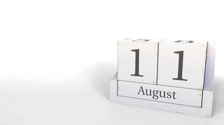 11. August Datum auf Vintage Würfelkalender, 3D-Rendering