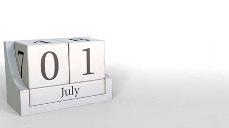 July 1 date on retro blocks calendar, 3D rendering 版權商用圖片