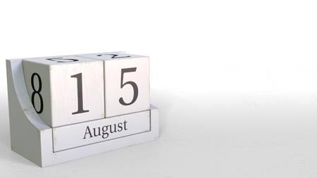 Cube calendar shows August 15 date. 3D rendering