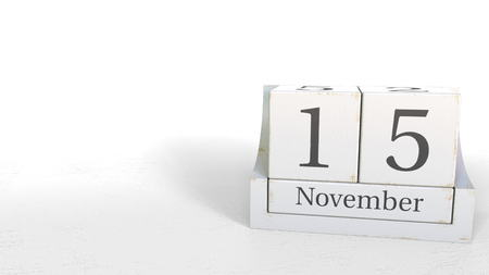 November 15 date on wooden blocks calendar. 3D rendering Foto de archivo