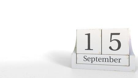 September 15 date on wood bricks calendar. 3D rendering