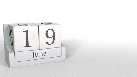 Wood cube calendar shows June 19 date, 3D rendering Stock Photo