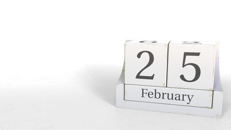 February 25 date on wood bricks calendar. 3D rendering 写真素材