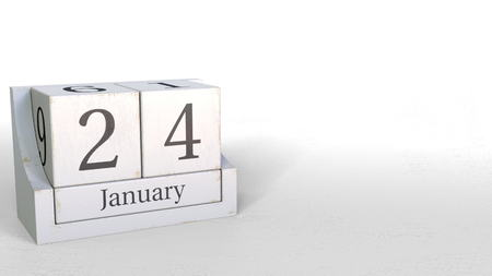 January 24 date on wooden blocks calendar. 3D rendering
