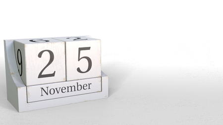 Cube calendar shows November 25 date. 3D rendering
