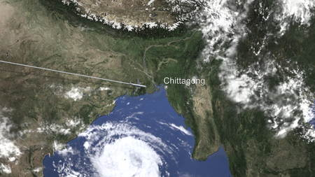 Airplane flying to Chittagong, Bangladesh on the map. 3D rendering