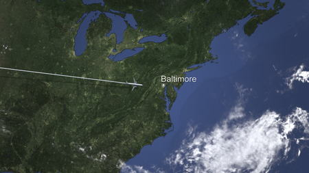 Airliner flying to Baltimore, United States from west. 3D rendering 免版税图像