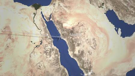 Plane arriving to Medina, Saudi Arabia from west, 3D rendering