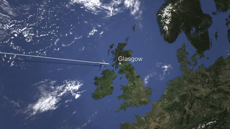 Plane arriving to Glasgow, United Kingdom from west, 3D rendering