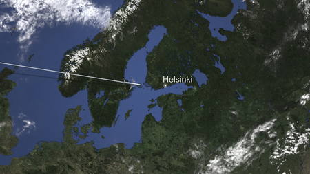 Commercial airplane flying to Helsinki, Finland. 3D rendering Banque d'images