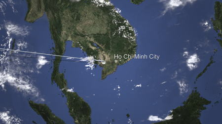 Route of a commercial plane flying to Ho Chi Minh City, Vietnam on the map. 3D rendering
