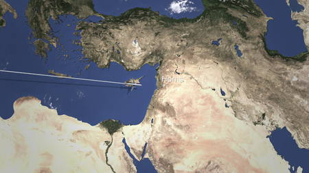 Airliner flying to Homs, Syria from west. 3D rendering