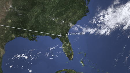 Airplane flying to Jacksonville, United States from west. 3D rendering